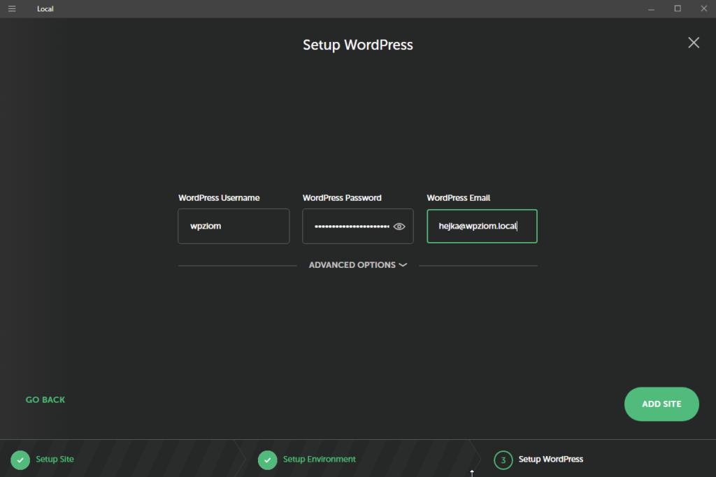 localwp instalacja wordpress na komputerze - login i hasło użytkownika